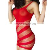 New Fashion Hot Women Sexy Lingerie Set Striped Cutout Stretchy Mini Dress Bodysuit Sleepwear erotic lingerie Black / Red