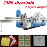 Fastest 2500 Piece Italy Design Embossing Printing Automatic High Speed Restaurant Napkin Folding Machine