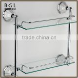 Fancy Decorative Zinc Alloy And Frosted Glass Chrome Plated Bathroom Accessories Wall Mounted Tier Shelf With Bar