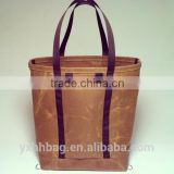 Hot Sell Vintage Waxed Canvas Tote Bag real leather handbag with Backpack Straps(YX-Z114)