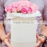 Customized paper flowers box craft kraft paper tube white cardboard round box for rose flower packaging