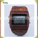 2016 Top Luxury Gift Items Men Large Face Maple Wooden Watch Quartz Digital Movement LED Face Wood Watch