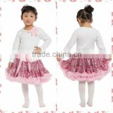 Wholesale boutique baby girls fluffy sequin pettiskirt set fashionable hot pink sparkle fluffy pettiskirt set