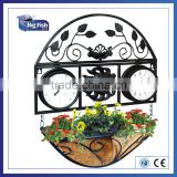 archaistic/antique Decorative promotional outdoor Garden metal wall clock /thermometer with hanging flower basket coco liner