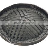 Cast Iron Japanese Barbeque Grill Pan Mongolian Mutton Barbeque Pan for Japanese Restaurant