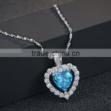 Classic Titanic Heart Of Ocean Crystal 925 Silver heart Chain Pendant Necklace Choker For Women