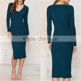 Women New Model Ladies Emerald Green Plunging Neckline Midi Bandage Long Sleeve Prom Dress