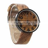 Handmade Personized Dark Brown Leather Wooden Watch ,Engraved Bamboo Wooden Watch For Men