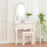 Antique carving luxury wooden modern high quality dresser MDF dressing table with mirror drawer stool