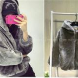 Korea Japan Trend Soft Loose Girls Hoodies In Faux Fur