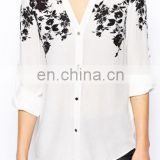 White Flowers Print Long Sleeve Wrap Polyester Blouse