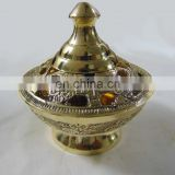 CARVED POLISHED DECORATIVE CHARCOAL INCENSE BURNER