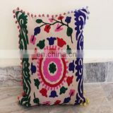 Vintage Suzani Cushion Cover Embroidered 16x16'' Indian Pillow Case Pom Pom Cu05