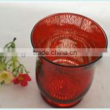red electroplated glass candle holder