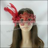 Hot sale halloween glitter simple design red masquerade party mask
