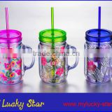 BPA free 20oz Plastic Mason Jar with handle and straw and beautiful PVC inserts