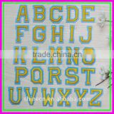 26pcs/Lot Yellow Letter Trial Order Sew-on Iron on Cheap OEM ODM Letter ebroideried Patches