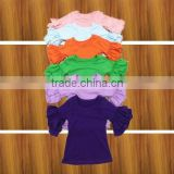 hot sale fall 3/4 sleeve toddler girl top childs blank shirt ruffle girls ruffle t shirt                                                                         Quality Choice