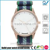 Quality watch making company PVD rosegold stainless steel case and buckle 10ATM water resistant nylon wrist strap