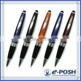 Stylus metal aluminum rubber gripper cross refill touch screen ballpoint promotional pen