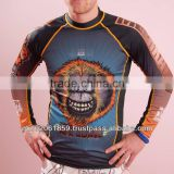 MMA sublimation printing long sleeves rash guards/ Highest quality Stitching sublimation Printing Rash guards
