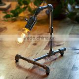 Vintage Retro Industrial Style Steel Pipe Desk Table Lamp Light With Edison Bulb                                                                         Quality Choice