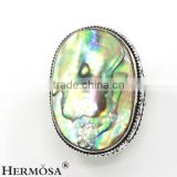Natural Charm Abalone Shell Genuine 925 Sterling Silver Man Rings
