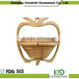 Eco-friendly hot selling solid bamboo constructions apple shape bamboo folding fruit basket wholesale