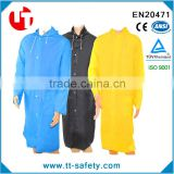 adult portable lightweight PVC long size hooded reusable raincoat with pockets mens pvc raincoat