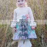 Wholesale long sleeve chevron floral dress matching lace ruffle pants baby girls clothing sets