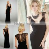 Custom Made Black V-neck A-line Chiffon Empire Chantilly Lace Cap Covered Back Bridesmaid Dress 5319