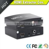 High quality HDMI to HDMI audio extractor converter with DIP 3.5mm audio SPDIF Optical output
