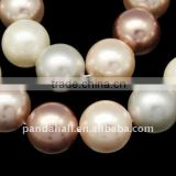 "Shell Pearl Beads Strands, Polished, Round, Dyed, Multicolor, 16mm, hole: 1mm, 25pcs/strand, 15.7""(BSHE-Q007-8)"