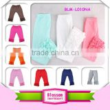Wholesale children boutique clothing multiple color plain ruffle icing legging 2016 high quality girl cotton icing legging pant