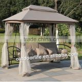 Luxury gazebo swing chair, outdoor gazebo swing with mosquito netting