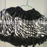 Girls Baby Tutu Kids Petti Skirt Girls Dancewear Princess Satin Chiffon Skirt Black with Zebra