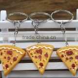 creative promotional gifts 2016 factory wholesale pizza stainless steel pom pom keychain