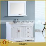Europe style classic white MDF free standing bathroom vanity cabinet RA013 with marble top