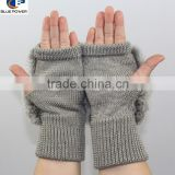 Cheap Winter Mittens Acrylic Knitted Warmly Women Gloves with Real Rabbit Fur On the Back