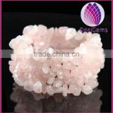 Gemstone stretch bracelet assortment, rose quartz chips (natural) , 6-1/2inches.