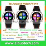 "1.54"" Round MTK6572 Android 3G WCDMA Watch Phone with Sim Card GPS Bluetooth Wifi Camera Silver Black Red Color"