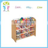 Factory direct sale 2016 hot sale products natural color made in China wood material storage shelf wood children cabinet