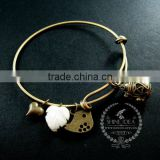 vintage bronze antiqued nut prayer box bird white shell leaf heart wish charms fashion women wiring bangle bracelet 6450034