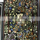 Black Rectangle Marble Inlay Table Top, Marble inlay dining inlaid Table top, flower black table top