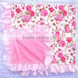 Home textile bulk buy from china 80*80cm soft cotton & velvet blankets with satin ruffle baby products wholesale