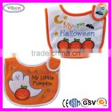 E104 Embroidery Halloween Theme Closure Baby Bibs Soft Comfy Lovely Embroidered Baby Bib