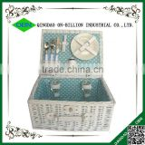 Handicraft natural white wicker picnic basket set for 2 person