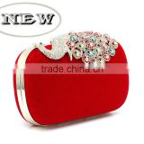 R0026H Ladies diamond peacock closure clutch evening bag