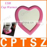 Heart-shape USB Cup Warmer/USB Coffee Warmer Heat Preservation Pad for Home and Office, Keep 60~70 Degrees Celsius