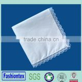 ladies quadrate cotton handkerchief with lace trim